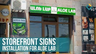 Sign installation-storefront aluminum signs