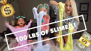 MAKING $200 WORTH OF FLUFFY SLIME WITH 4 YEAR OLDS!! STRETCHIEST SLIME EVER!!