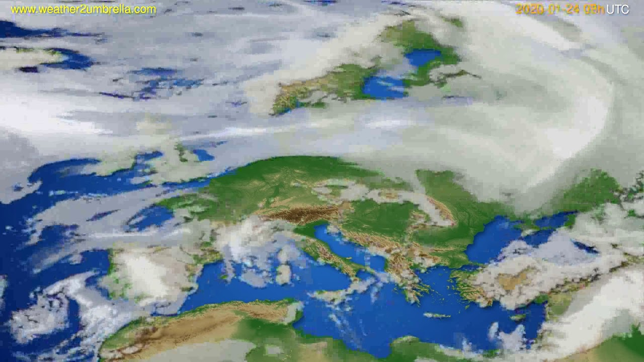 Cloud forecast Europe // modelrun: 12h UTC 2020-01-23