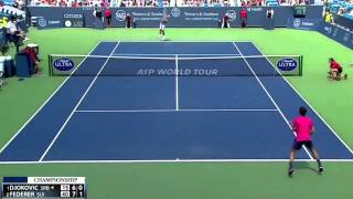 "After Roger federer introduced his new shot ""SABR"" to Novak Djokovic in the first set ( https://www.youtube.com/watch?v=1iUJ1nLnCI0 ), Djokovic hit 3 Double Faults in the first service game of the second set."