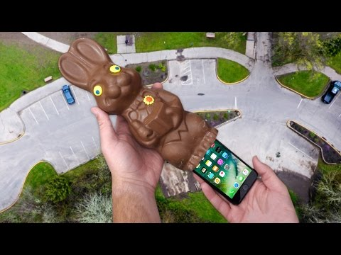 Can iPhone 7 Survive in Giant Chocolate Easter Bunny s