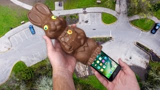 Can iPhone 7 Survive in Giant Chocolate Easter Bunny's Booty? 100 FT Drop Test