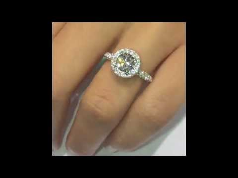 1.00 ct Round cut Diamond Engagement Ring in Double-Edge Halo