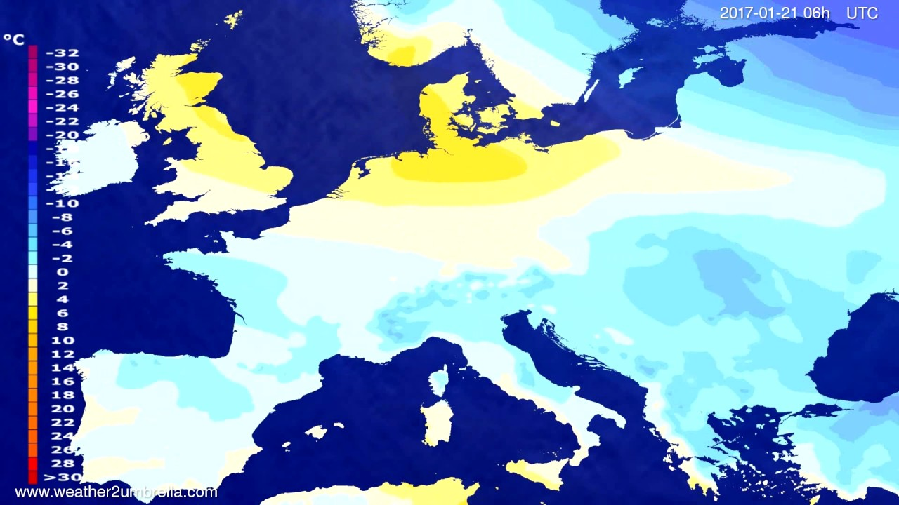 Temperature forecast Europe 2017-01-18