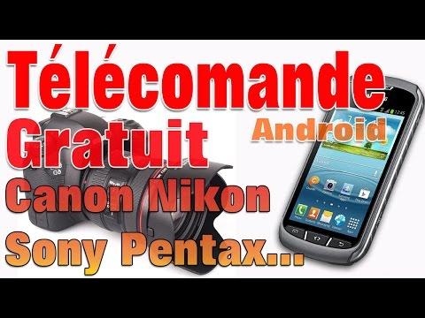 Télécommande photo reflex nikon canon avec un portable tablette android.