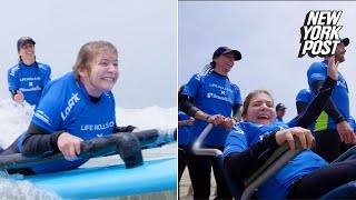 Life Rolls On is a nonprofit that helps people with disabilities go surfing. This summer, events have taken place in Santa Monica, Texas, and most recently Rockaway, NY.
