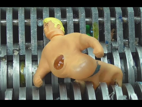 Shredding Machine Crushing:  STRETCH ARMSTRONG TOY Destruction