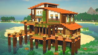 How to Make a TROPICAL ISLAND BEACH HOUSE ON WATER in Minecraft!