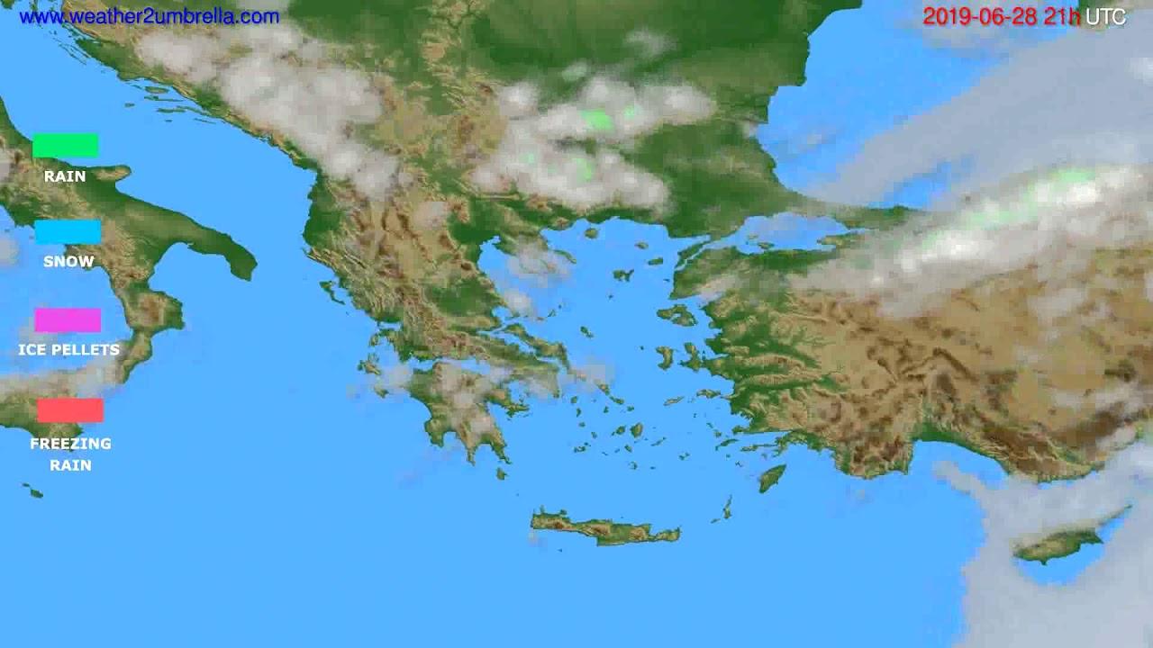 Precipitation forecast Greece // modelrun: 00h UTC 2019-06-27