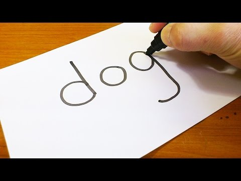 Very Easy ! How To Turn Words DOG #2 Into A Cartoon - Doodling Art On Paper For Kids