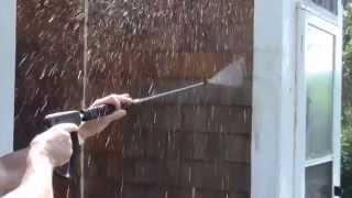 Showing Cedar shingles being rinsed