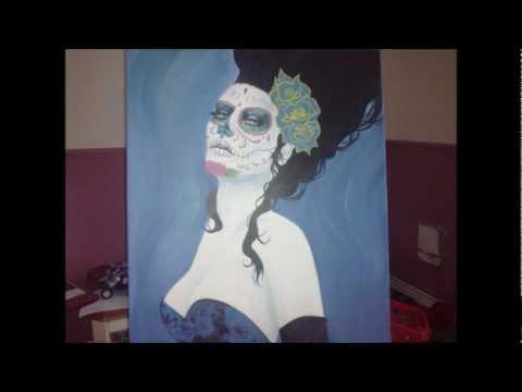 Art. Mexican Day of the Dead, Dia de los muertos, acrylic painting on canvas