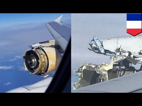 Plane engine falls apart mid-air: Airbus engine disintegrates over Atlantic - TomoNews