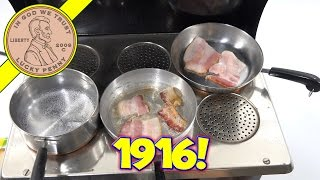 Wow! A toy oven from 1916! It cooked my food great I was happy with my food results. Not my normal mini food, but still fun.