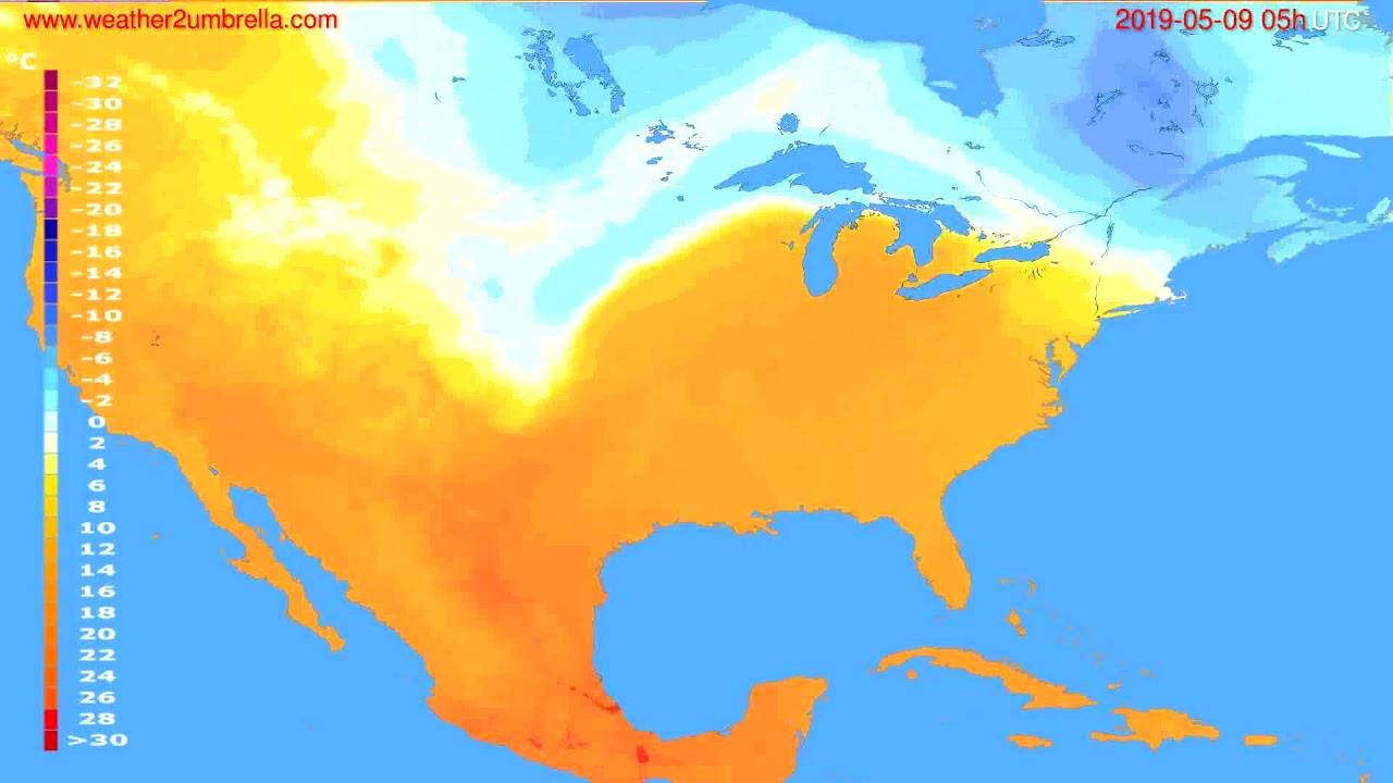 Temperature forecast USA & Canada // modelrun: 00h UTC 2019-05-07