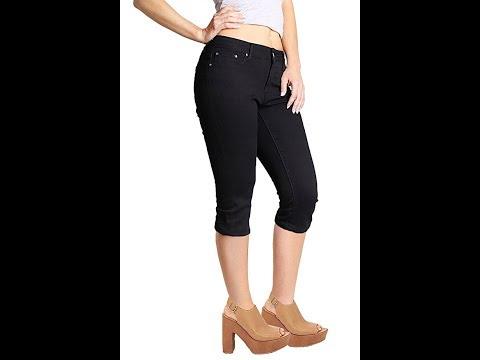 2LUV Women's Stretchy 5 Pocket Skinny Capri Jeans