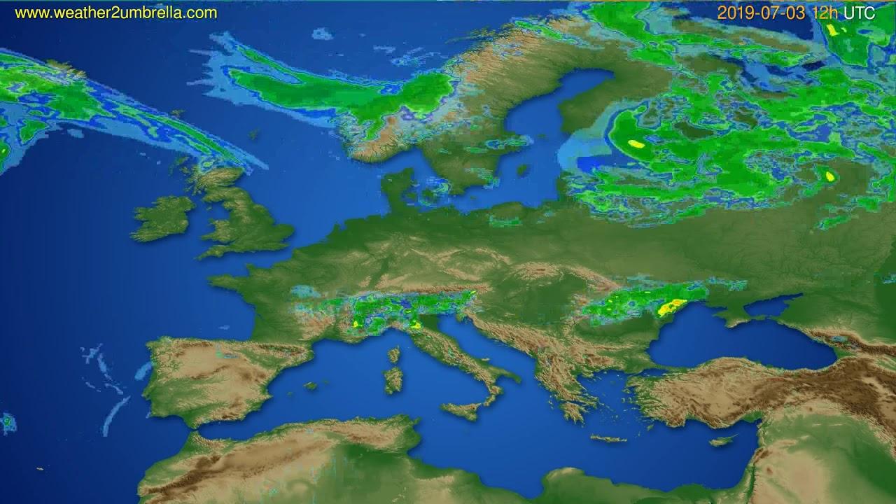 Radar forecast Europe // modelrun: 00h UTC 2019-07-03