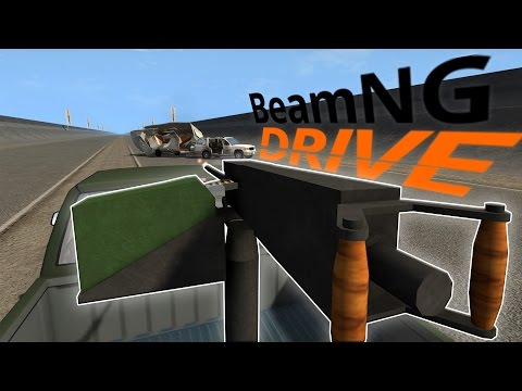 BeamNG Drive With Guns! - Vehicle Mounted Machine Gun & Rocket Launcher - BeamNG Drive Gameplay (видео)