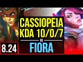 CASSIOPEIA vs FIORA (TOP) | KDA 10/0/7, 3 early solo kills, 8 solo kills | EUW Diamond | v8.24