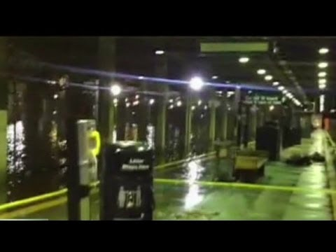 Hurricane Sandy floods New York City subways