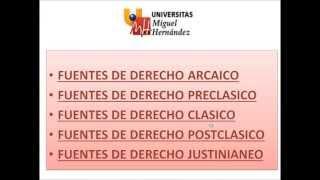 Umh1191 2013-14 Lec0.1 Fuentes Del Derecho Romano. Derecho Arcaico