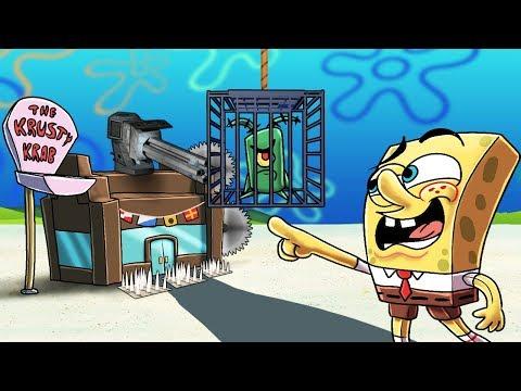 Minecraft   SECRET BASE CHALLENGE - Plankton Breaks into Krusty Krab! (Spongebob Base)