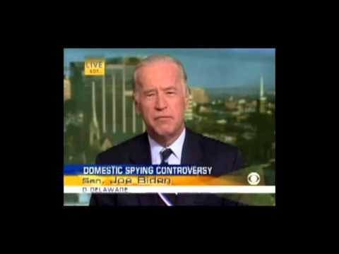 Biden - Watch then-Senator Joe Biden from 2006 as he directly refutes each point made by his boss, President Obama, about the NSA surveillance program at his news co...