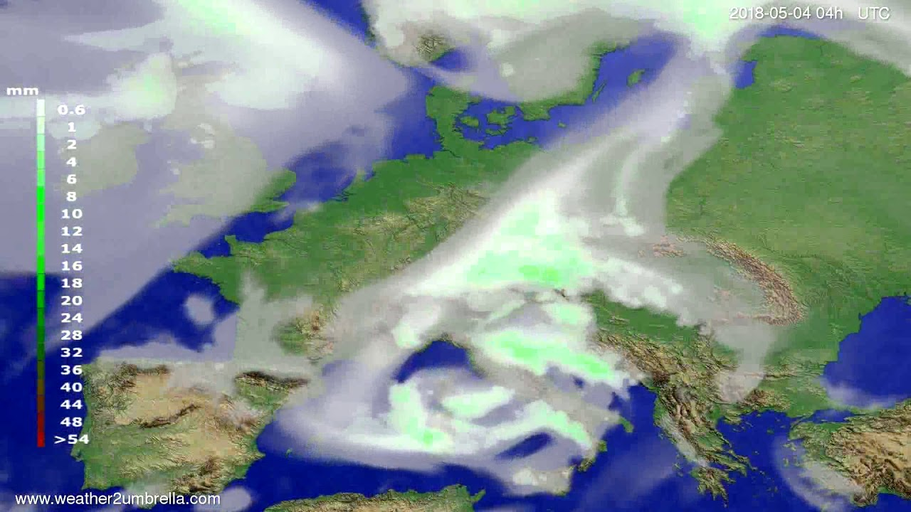 Precipitation forecast Europe 2018-04-30