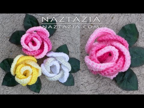 HOW to CROCHET ROSE with RINGS - Flor Flores Rosa Rosas by Naztazia