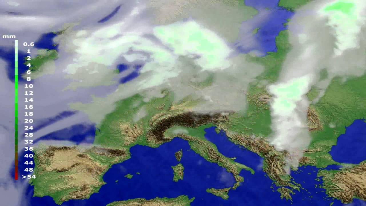 Precipitation forecast Europe 2016-07-25