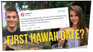 Tinder is sending a couple on their FIRST DATE to Hawaii - 3 years after they matched.Best First Date News - http://bzfd.it/2uGKZefSpecial Thanks to Our Guests & Friends:Yoshi Sudarso• YouTube: https://www.youtube.com/user/officialyoshisudarso• Twitter: https://twitter.com/yoshistunts• Instagram: https://www.instagram.com/yoshistuntsDavid So• YouTube: http://youtube.com/davidsocomedy • Facebook: http://facebook.com/dsocomedy • Twitter: http://twitter.com/Davidsocomedy • Instagram: http://instagram.com/Davidsocomedy Cast:• Hosted by Tiffany Del Real• Commentary by: Yoshi Sudarso, David So, Joe Jo, Bart Kwan, Geo Antoinette• Edited by Ryan Hasegawa: http://instagram.com/ryanhasegawaSubmit JKNews Articles Here: http://tinyurl.com/justkiddingnews---FOLLOW THE CREW:• Joe Jo: https://instagram.com/joe_joverdose• Bart Kwan: http://instagram.com/bartkwan• Geo Antoinette: http://instagram.com/Geo_Antoinette• Casey Chan: http://instagram.com/chanmanprod• Julia Chow: http://instagram.com/xblueapplez• Michael Chiu: http://instagram.com/mchiu11• Tiffany Del Real: http://instagram.com/real_tiff• Brandon Choi: http://instagram.com/bchoii • Josh Osei: http://instagram.com/dubhalo• Sean D. Nguyen: http://instagram.com/seandnguyen  SUBSCRIBE TO OUR CHANNELS • JUST KIDDING FILMS: http://youtube.com/justkiddingfilms• JUST KIDDING PARTY: http://youtube.com/justkiddingparty• JUST KIDDING GAMER: http://youtube.com/justkiddinggamer• ASK THE FEELS: http://youtube.com/askthefeels• JOE'S CHANNEL: http://youtube.com/theuncochin• BART'S CHANNEL: http://youtube.com/bartkwan• GEO'S CHANNEL: http://youtube.com/GeovannaAntoinette• TIFF & CASE'S CHANNEL: http://youtube.com/TiffandCase FOLLOW AND LIKE US HERE:• INSTAGRAM: https://instagram.com/JustKiddingnews• FACEBOOK: http://facebook.com/JustKiddingNews• MERCHANDISE: http://justkiddingfilms.bigcartel.com/