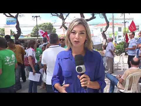 Manhã de protesto: Servidores estaduais e aposentados fazem ato público