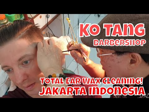 Haircut, Shave & Total Ear Wax Cleaning for $7  Ko Tang Barbershop Jakarta Indonesia