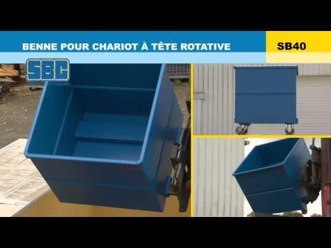Video Youtube Benne pour chariot à tête rotative - Capacité 500 à 2000 litres - Charge inférieure à 1800 kg