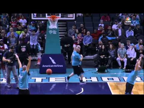 Hornets Mascot Hugo Makes Backwards Half Court Shot