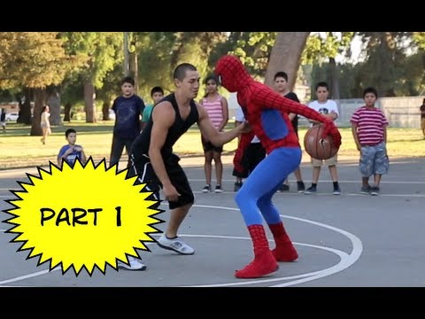 plays - Spiderman crashes the court and plays people 1 on 1.