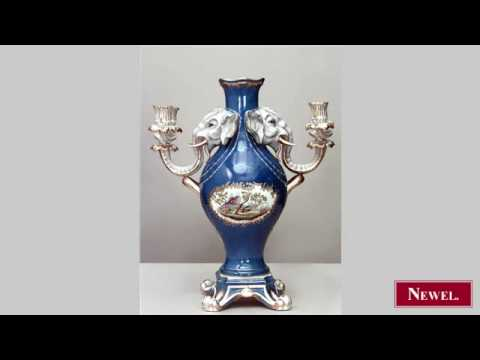 Antique Pair of French Louis XV style blue ground vases