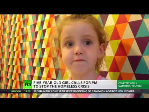 Five-year-old girl calls for Theresa May to stop the homeless crisis.