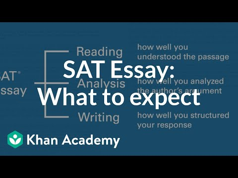 The Sat Essay What To Expect Video  Khan Academy