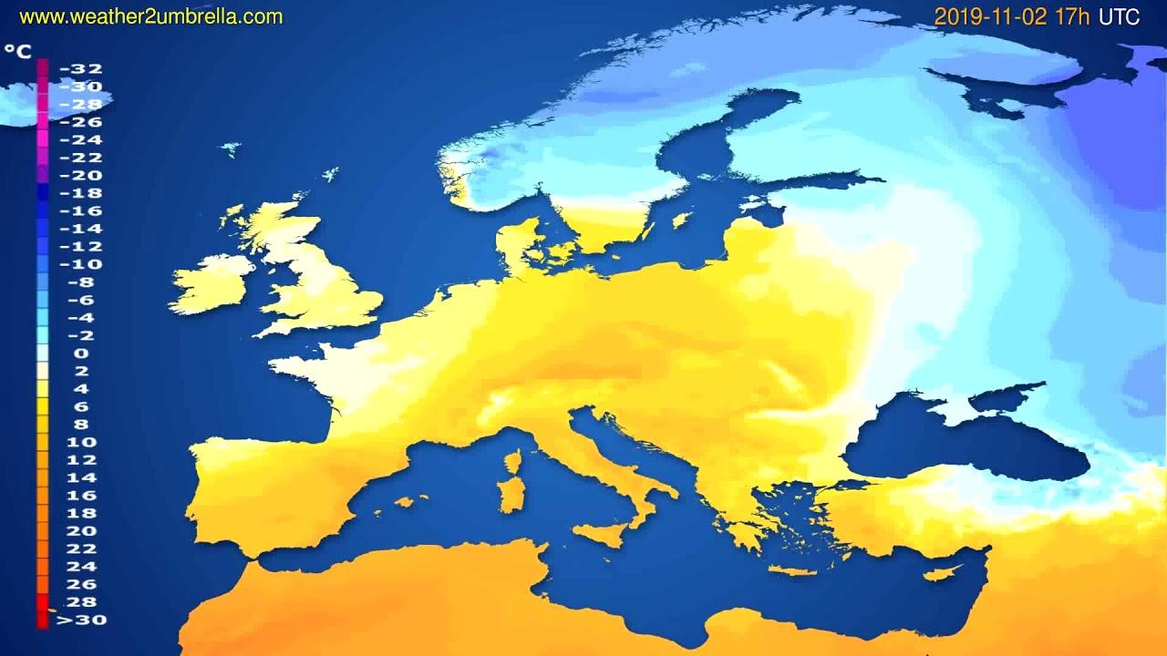 Temperature forecast Europe // modelrun: 00h UTC 2019-11-01