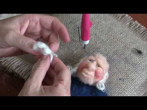 Needle Felted Gnome Part 4 - Finishing the face, Hat and Pants