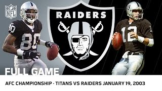 Titans vs. Raiders 2002 AFC Championship Game (FULL GAME) | NFL by NFL