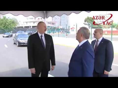 Prezident İlham Əliyev Bakıda yeni salınan yolun açılışında iştirak edib (видео)