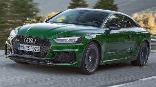The Audi RS5 is now part of the Audi Sport family, comprised of only RS models and the R8. This new RS5 says goodbye to a high-revving V8 engine and hello to a small 2.9L bi-turbo with 450hp and 442lb.-ft. of torque. This RS5 is built on the same lighter platform as the Audi A5 and A5, shedding 60kg, plus the buyer can choose a carbon fiber roof to keep the weight down even more. The power goes to al four wheels through an 8-speed automatic, no duel clutch for a smoother drive at city speeds.