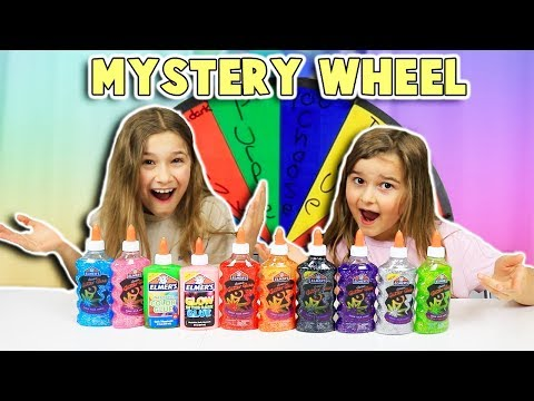 MYSTERY WHEEL 3 COLORS OF GLUE SLIME CHALLENGE!!  JKrew