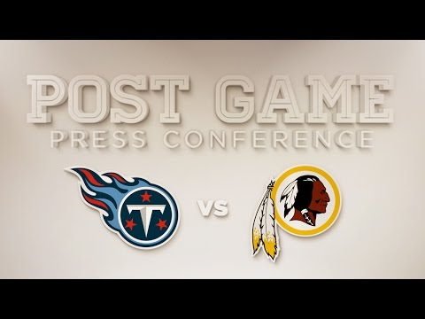 Conference - Redskins head coach Jay Gruden takes the podium following the Redskins vs. Titans game at FedExField on Sunday, October 19, 2014.