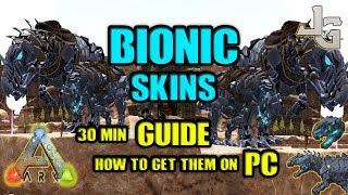 "In patch 262 the Bionic skins for Rex and Giga was released for PC. I made a guide on how to get them both in about 30 min. It's pretty easy by using the single player mode.You'll also get the achievement Survivor of The Center for killing the bosses on The Center.- After Alpha Ascension, you should have access to the Rex Bionic Skin. - After Defeating TheCenter End Bosses, on any difficulty, you should have access to the Giga Bionic Skin.Here is a link for the command I used:http://s000.tinyupload.com/?file_id=18564275691515587196http://ark.gamepedia.com/The_Center_Arenahttp://ark.gamepedia.com/ArtifactsTek Cave entrance on The Islandcheat setplayerpos -87200 -55200 33600http://ark.gamepedia.com/Tek_CaveUseful commands:GOD -Toggle god modeGMBUFFFLYWALKcheat addexperience 999999 1 1GET ITEMS FOR GAMMA BOSS THE CENTER IN 1 GO:giveitemnum 158 25 0 0  giveitem ""Blueprint'/Game/PrimalEarth/CoreBlueprints/Items/Artifacts/PrimalItemArtifact_12.PrimalItemArtifact_12'"" 1 0 0  giveitem ""Blueprint'/Game/PrimalEarth/CoreBlueprints/Items/Artifacts/PrimalItemArtifact_05.PrimalItemArtifact_05'"" 1 0 0  giveitemnum 154 1 0 0  giveitemnum 148 1 0 0  giveitemnum 150 1 0 0  giveitemnum 149 1 0 0  giveitem ""Blueprint'/Game/PrimalEarth/CoreBlueprints/Resources/PrimalItemResource_ApexDrop_Basilo.PrimalItemResource_ApexDrop_Basilo'"" 25 0 0  giveitem ""Blueprint'/Game/PrimalEarth/CoreBlueprints/Resources/PrimalItemResource_ApexDrop_Megalania.PrimalItemResource_ApexDrop_Megalania'"" 25 0 0  giveitemnum 159 25 0 0  giveitem ""Blueprint'/Game/PrimalEarth/CoreBlueprints/Resources/PrimalItemResource_ApexDrop_Sarco.PrimalItemResource_ApexDrop_Sarco'"" 25 0 0  giveitemnum 161 25 0 0  giveitem ""Blueprint'/Game/PrimalEarth/CoreBlueprints/Resources/PrimalItemResource_ApexDrop_Spino.PrimalItemResource_ApexDrop_Spino'"" 25 0 0  giveitem ""Blueprint'/Game/PrimalEarth/CoreBlueprints/Resources/PrimalItemResource_apexdrop_thylaco.primalitemresource_apexdrop_thylaco'"" 25 0 0  giveitem ""Blueprint'/Game/PrimalEarth/CoreBlueprints/Resources/PrimalItemResource_ApexDrop_Boa.PrimalItemResource_ApexDrop_Boa'"" 25 0 0  giveitem ""Blueprint'/Game/PrimalEarth/CoreBlueprints/Resources/PrimalItemResource_ApexDrop_Tuso.PrimalItemResource_ApexDrop_Tuso'"" 25 0 0GET ITEMS FOR ALPHA ASCENDING IN 1 GO:cheat giveitem ""Blueprint'/Game/PrimalEarth/CoreBlueprints/Items/Trophies/PrimalItemTrophy_Broodmother_Alpha.PrimalItemTrophy_Broodmother_Alpha'"" 1 0 0  cheat giveitem ""Blueprint'/Game/PrimalEarth/CoreBlueprints/Items/Trophies/PrimalItemTrophy_Broodmother_Beta.PrimalItemTrophy_Broodmother_Beta'"" 1 0 0  cheat giveitem ""Blueprint'/Game/PrimalEarth/CoreBlueprints/Items/Trophies/PrimalItemTrophy_Broodmother_Gamma.PrimalItemTrophy_Broodmother_Gamma'"" 1 0 0  cheat giveitem ""Blueprint'/Game/PrimalEarth/CoreBlueprints/Items/Trophies/PrimalItemTrophy_Gorilla_Alpha.PrimalItemTrophy_Gorilla_Alpha'"" 1 0 0  cheat giveitem ""Blueprint'/Game/PrimalEarth/CoreBlueprints/Items/Trophies/PrimalItemTrophy_Gorilla_Beta.PrimalItemTrophy_Gorilla_Beta'"" 1 0 0  cheat giveitem ""Blueprint'/Game/PrimalEarth/CoreBlueprints/Items/Trophies/PrimalItemTrophy_Gorilla_Gamma.PrimalItemTrophy_Gorilla_Gamma'"" 1 0 0  cheat giveitem ""Blueprint'/Game/PrimalEarth/CoreBlueprints/Items/Trophies/PrimalItemTrophy_Dragon_Alpha.PrimalItemTrophy_Dragon_Alpha'"" 1 0 0  cheat giveitem ""Blueprint'/Game/PrimalEarth/CoreBlueprints/Items/Trophies/PrimalItemTrophy_Dragon_Beta.PrimalItemTrophy_Dragon_Beta'"" 1 0 0  cheat giveitem ""Blueprint'/Game/PrimalEarth/CoreBlueprints/Items/Trophies/PrimalItemTrophy_Dragon_Gamma.PrimalItemTrophy_Dragon_Gamma'"" 1 0 0  cheat giveitem ""Blueprint'/Game/PrimalEarth/CoreBlueprints/Resources/PrimalItemResource_ApexDrop_AlphaCarno.PrimalItemResource_ApexDrop_AlphaCarno'"" 1 0 0  cheat giveitem ""Blueprint'/Game/PrimalEarth/CoreBlueprints/Resources/PrimalItemResource_ApexDrop_AlphaLeeds.PrimalItemResource_ApexDrop_AlphaLeeds'"" 1 0 0  cheat giveitem ""Blueprint'/Game/PrimalEarth/CoreBlueprints/Resources/PrimalItemResource_ApexDrop_AlphaMegalodon.PrimalItemResource_ApexDrop_AlphaMegalodon'"" 1 0 0  cheat giveitem ""Blueprint'/Game/PrimalEarth/CoreBlueprints/Resources/PrimalItemResource_ApexDrop_AlphaMosasaur.PrimalItemResource_ApexDrop_AlphaMosasaur'"" 1 0 0  cheat giveitem ""Blueprint'/Game/PrimalEarth/CoreBlueprints/Resources/PrimalItemResource_ApexDrop_AlphaRaptor.PrimalItemResource_ApexDrop_AlphaRaptor'"" 1 0 0  cheat giveitem ""Blueprint'/Game/PrimalEarth/CoreBlueprints/Resources/PrimalItemResource_ApexDrop_AlphaRex.PrimalItemResource_ApexDrop_AlphaRex'"" 1 0 0  cheat giveitem ""Blueprint'/Game/PrimalEarth/CoreBlueprints/Resources/PrimalItemResource_ApexDrop_AlphaTuso.PrimalItemResource_ApexDrop_AlphaTuso'"" 1 0 0MUSIC:TheFatRat - Monody (feat. Laura Brehm)TheFatRat - The Calling (feat. Laura Brehm)SUBSCRIBE to learn more about ARK!http://www.youtube.com/subscription_center?add_user=jonesy-gaming"