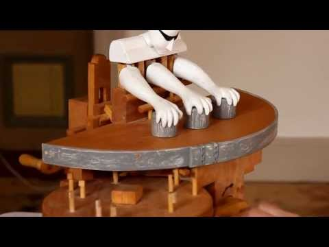 Just a wooden robot making some magic