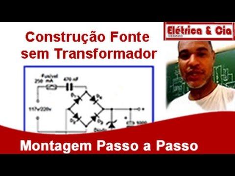 Como fazer Fonte de 12 9 6 ou 3 Volts sem Transformador - 50 Circuitos para Iniciantes
