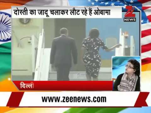 president - US President Barack Obama, First Lady Michelle Obama bid goodbye to India and have left for Saudi Arabia.